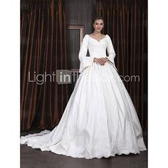 Wedding Dress Ball Gown Cathedral Train Satin V Neck With Beaded Appliques - USD $249.99