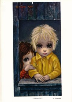 """""""The Shy One"""" ~ Margaret Keane, Margaret Keane created a unique, commercially popular artistic aesthetic during the though unknown to the public for some time. Style of work kitsch. Big Eyes Margaret Keane, Keane Big Eyes, Margareth Keane, Vintage Prints, Vintage Art, Keane Artist, Big Eyes Paintings, Eye Art, Famous Artists"""