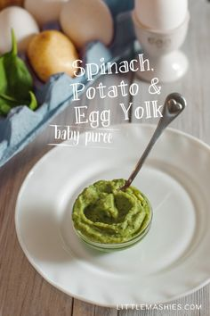 Baby food recipe Spinach Potato and Egg Yolk puree from Little Mashies reusable…