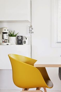 """Diiiz offers design furniture including a reproduction of the """"About a Chair"""" by HAY - This Hay Chair is available in plastic in different colors. Scandi Living, Hay Chair, Yellow Interior, Scandinavian Home, Interior Exterior, Kitchen Interior, Home Look, Modern Chairs, Decoration"""