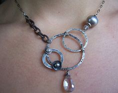 Organic freshwater pearl statement necklace   by dnajewelrydesigns