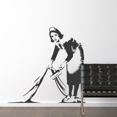 This dishonest maid sweeps it under the rug...and makes quite a statement doing it! Now we bring it to you as a Wall Decals (in other words, as something that actually looks painted on the wall...kind