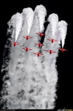 Red Arrows. I'm going to watch their display here on the Isle of Man next week when they do their annual TT display.