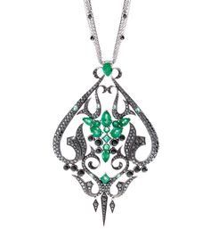 Stephen Webster pendant with 5.4ct of emeralds, diamonds and onyx in white gold.
