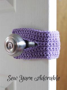 Crochet Door Silencer (Purple, Grey, Yellow, Pink, Brown and Teal), Door Silencer, Door Jammer, Door Latch Cover, Door Muff