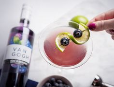 Click for recipe! Create a cocktail to leave your guests Lovin' the Blues. Ingredients: 2 oz. Van Gogh Açaí-Blueberry Vodka, ½ oz. cranberry juice, ½ oz. fresh lime juice, ½ oz. honey syrup (equal parts honey and warm water, dissolved) and 5 blueberries. Directions: Muddle the blueberries in the lime juice and honey syrup. Add remaining ingredients with ice and shake well. Strain into a martini glass. Garnish with two blueberries and a lime wheel on a pick.