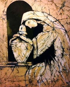 Mourning Angel original textile fine art batik by Kay Shaffer. Second in the series Stone Statuary, capturing the beauty of stone sculpture in batik. Fabric Painting, Fabric Art, Tachisme, High School Art Projects, Batik Art, Abstract Portrait, Sculpture Art, Stone Sculpture, Textile Artists