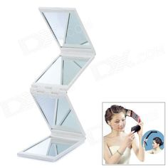 Portable 4-Fold Folding Cosmetic Mirror - White Mirror Desk, Desk Lamp, Small Mirrors, Mirror With Lights, Cool Gadgets, Lamp Light, Natural Light, Cosmetics, Boutique