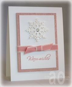 Warm wishes, white and pink handmade christmas card with snowflake. 3d Christmas, Homemade Christmas Cards, Christmas Cards To Make, Xmas Cards, Homemade Cards, Handmade Christmas, Holiday Cards, Christmas Snowflakes, Christmas Colors