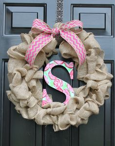 Summer Wreaths for Door - Lilly Pulitzer inspired wreath- Summer wreath- Shabby Chic Decor - Spring Decorations - Home decor -