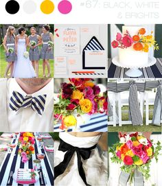 hot pink, light pink, orange and yellow with black & white