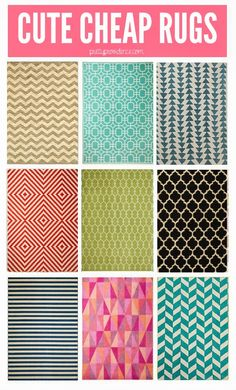 cute, cheap area rugs for your house! every single one of these is under $160, most under $100! doesn't get much better than that!