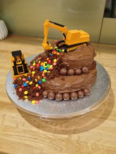 Construction theme cake for my 3 year old boy who loves M&Ms ...
