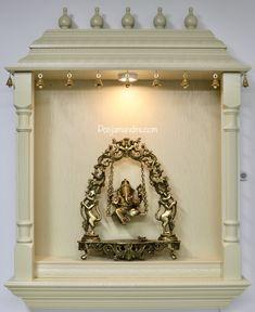 Pooja Mandirs USA - Vishaka Collection - Wall Hanging Mandirs Wooden Temple For Home, Pooja Mandir, Pooja Room Design, Pooja Rooms, Ganesh, Wall Mount, Beautiful Homes, Entrance, Usa