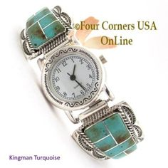 Kingman Turquoise Inlay Sterling Womens Watch Navajo Harry Spencer Ella Cowboy NAW-1451 Four Corners USA OnLine Native American Silver Jewelry