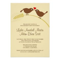 Love bird rustic engagement party invitations - Elegant, special personalized rustic engagement party invitations. Add your engagement party details online!
