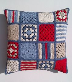 Your place to buy and sell all things handmade - SALE Nautical crochet cushion . - My Pins - Your place to buy and sell all things handmade – SALE Nautical crochet cushion cover by Jayneann - Bag Crochet, Crochet Motifs, Tunisian Crochet, Crochet Squares, Crochet Home, Love Crochet, Crochet Granny, Crochet Baby, Granny Squares