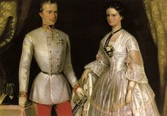 "Life size reproductions by unknown artists of engagement portrait of Emperor Franz Joseph I Aug Nov Austria & wife Empress Elisabeth ""Sissi"" (Elisabeth Amalie Eugenie) Dec Sep Bavaria at the Sissi Museum in Vienna, Austria."