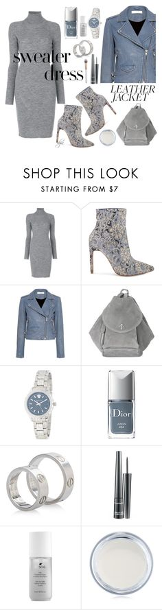 """Cool-Girl Style: Leather Jackets"" by dgia ❤ liked on Polyvore featuring Dsquared2, Raye, IRO, MANU Atelier, Versace, Christian Dior, Cartier, MAC Cosmetics, Boscia and NYX"