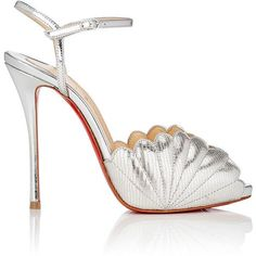 Christian Louboutin Women's Botticella Alta Metallic Leather Platform... ($895) ❤ liked on Polyvore featuring shoes, sandals, silver, stiletto sandals, high heel platform sandals, high heels sandals, peep toe sandals and platform sandals