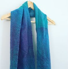 Blue Green and Purple variegated handwoven scarf women's