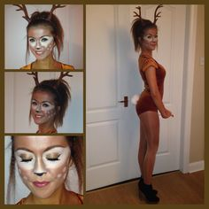 My home-made Bambi costume and make up Hope you see this Kenzie! Deer Costume Diy, Bambi Costume, Deer Halloween Costumes, Halloween Party Kostüm, Last Minute Halloween Costumes, Cute Costumes, Disney Halloween, Holidays Halloween, Dear Costume