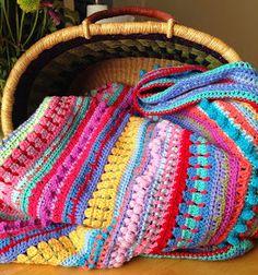 Da's Crochet Connection: Multi-stitch Stripe Blanket with Stylecraft Special dk Crochet Afgans, Crochet Baby, Free Crochet, Easy Crochet, Striped Crochet Blanket, Crochet Blankets, Crochet For Beginners Blanket, Beginner Crochet, Manta Crochet