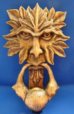 Lovin' this carved wood door knocker, perfect for the cottage door. Lovin' this carved wood door knocker, perfect for the cottage door. Door Knobs And Knockers, Cottage Door, Cool Doors, Wood Sculpture, Wood Art, Door Handles, Carved Wood, Hand Carved, Tree Faces