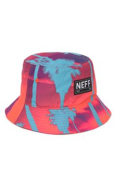9225beb12c5 A PacSun.com Online Exclusive! PacSun presents the Neff Jetsream Bucket Hat  for men. This colorful men s bucket hat comes with a palm tree print and a  Neff ...