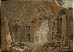 Architectural Fantasy with Roman Ruins Charles Louis Clérisseau  (French, Paris 1721–1820 Auteuil)