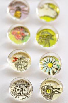 glass beads from dollar store + scrapbook paper + magnet = cute (cheap!) diy wedding favors