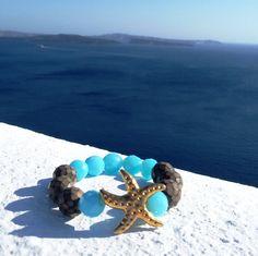 Gold Charm Starfish Bracelet-Blue and Brown Czech Glass Stones Bracelet-Turquoise Beaded Elastic Bracelet-Santorini Handmade Jewelry €35.00