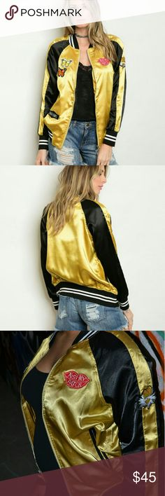Patch Bomber Jacket Satin like long sleeve lightweight bomber jacket with embellished patch detail Boutique Jackets & Coats