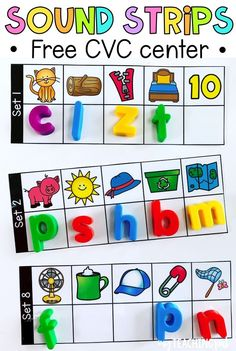 FREE CVC Sound Strips This literacy center will have your students using their early phonics skills to work out the beginning, middle and ending sounds of these CVC words. Kindergarten Centers, Preschool Literacy, Kindergarten Reading, Kindergarten Classroom, Preschool Learning Centers, Classroom Decor, Pre K Activities, Alphabet Activities, Preschool Activities