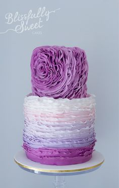 Ruffle flower and ombre cake by Blissfully Sweet