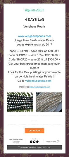 4 Days left save $ Large hole Pearls !!