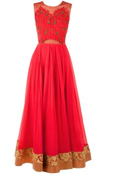 Red anarkali with sheer embroidered bodice available only at Pernia's Pop-Up Shop.