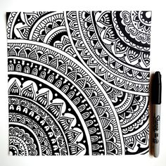 Another black and white mandala design I drew earlier today Zen Doodle Patterns, Doodle Art Designs, Easy Doodle Art, Doodle Art Drawing, Cool Art Drawings, Pencil Art Drawings, Mandala Art Lesson, Mandala Doodle, Mandala Artwork