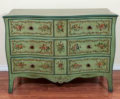 Louis XV style hand painted commode | From a unique collection of antique and modern commodes and chests of drawers at http://www.1stdibs.com/furniture/storage-case-pieces/commodes-chests-of-drawers/