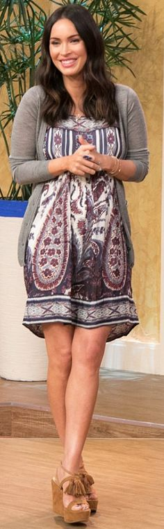 Who made  Megan Fox's purple print dress and brown suede wedge sandals?