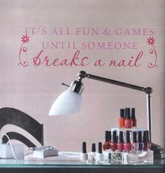 It's all fun & games until someone breaks a nail.  Installation available!  Click to begin customizing your salon or home today!  Repin # Uppercase Living # Salon # Nails # Decor # Beauty