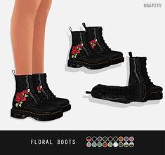 Floral boots by grafity sims 4 cc shoes, sims 3 cc clothes, sims 4 Maxis, Sims 3 Cc Clothes, Sims 4 Clothing, Sims Four, Sims 4 Mm, The Sims 4 Shoes, Mods Sims, The Sims 4 Cabelos, Sims 4 Dresses