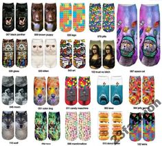Great look fashion Womans fashion sox witch funky prints on. Look Fashion, Womens Fashion, Fashion Design, Girls Socks, Fashion Socks, Hosiery, Women's Accessories, 3d Printing, Ankle