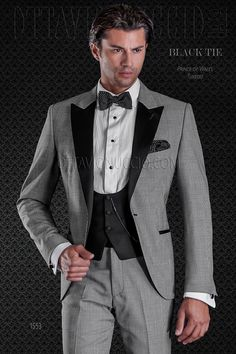 Prince of Wales groom suit with black contrast lapel