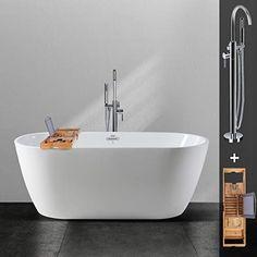 Small Freestanding Tubs 26 Small Freestanding Tub, Small Tub, Small Bathroom, Bathtub Lighting, Soaker Tub Free Standing, Bathtub Tray, Wine Glass Holder, Wood Bridge, Chrome