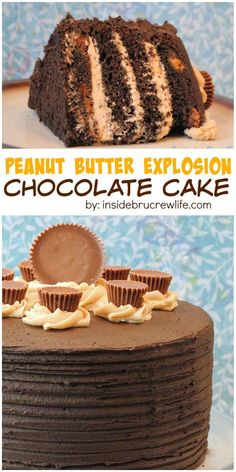 Chocolate and peanut butter layers with Reese's peanut butter cups makes an impressive cake for any party.