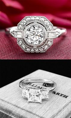 White Gold Carat Diamond Ring - Vintage-inspired engagement ring, with a bezel-set center diamond, that floats above a halo of diamond accents bordered by an octagonal frame. I Love Jewelry, Jewelry Design, Boho Jewelry, Diamond Are A Girls Best Friend, Beautiful Rings, Beautiful Places, Bracelets, Vintage Jewelry, Vintage Rings