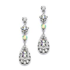 Crystal & AB Teardrop Prom or Bridesmaids Earrings with Flower