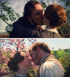 Jane Eyre and Edward Rochester's romantic kiss scene Jane Eyre Bbc, Jane Eyre 2011, Jane Austen, Mia Wasikowska, Charlotte Bronte, Michael Fassbender, Bronte Sisters, Classic Literature, Classic Books
