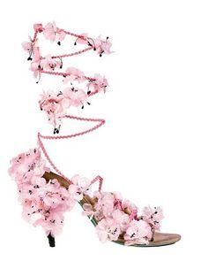 Alexis Mabille silk flower sandal